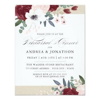 O jantar de ensaio floral romântico convida convite 10.79 x 13.97cm