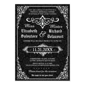 O jantar de ensaio gótico do casamento do convite personalizado
