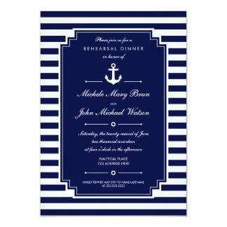 O jantar de ensaio náutico branco azul escuro convite 12.7 x 17.78cm