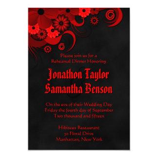 O jantar de ensaio preto floral vermelho do convite 12.7 x 17.78cm