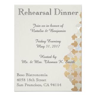 O jantar de ensaio romance rústico do casamento | convite 10.79 x 13.97cm
