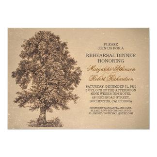 o jantar de ensaio rústico da árvore velha do convites personalizados