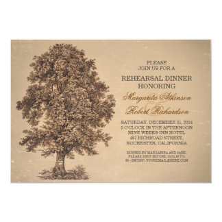 o jantar de ensaio rústico da árvore velha do convite 12.7 x 17.78cm