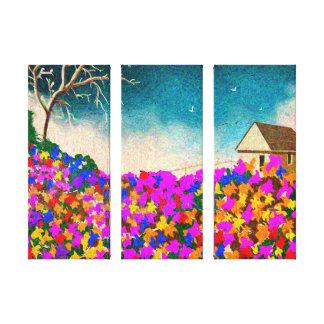 """""""O jardim"""" arte de três painéis em canvas"""
