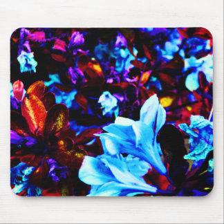 O jardim psicadélico floresce Fuschia roxo azul Mousepad