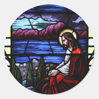 O Jesus Cristo Weeps sobre o vitral de Jerusalem Adesivo