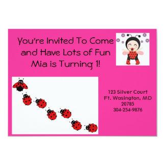 O joaninha convida convite 11.30 x 15.87cm