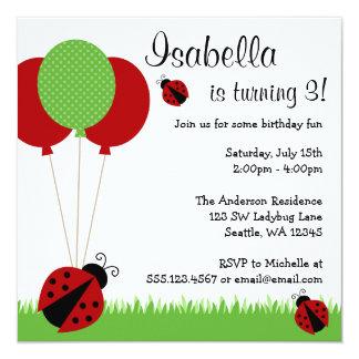 O joaninha vermelho Balloons convites de festas de