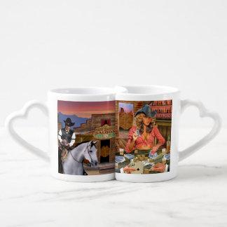 O jogador contra a vaqueira de Gamblin Conjunto De Caneca De Café