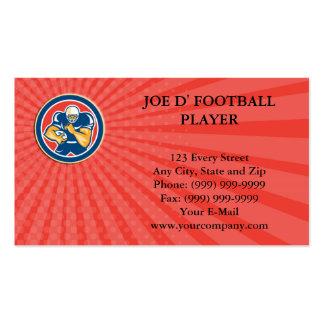 O jogador de futebol americano do cartão de visita