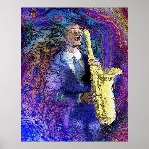 O jogador de saxofone pôsteres