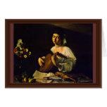 O jogador do alaúde por Michelangelo Merisi a Dina Cartão Comemorativo