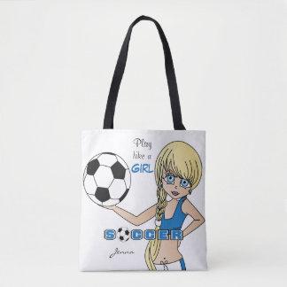 O jogo gosta de um futebol do azul da menina bolsa tote
