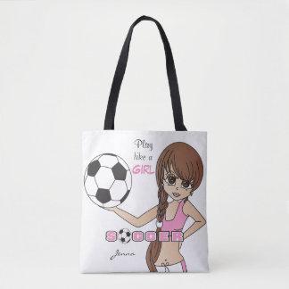 O jogo gosta de um futebol do rosa da menina bolsa tote