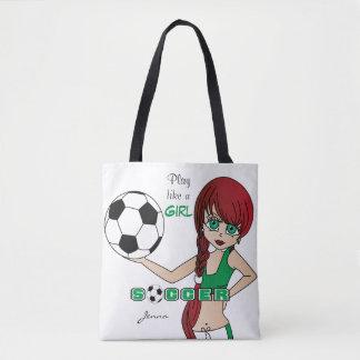 O jogo gosta de um futebol do verde da menina bolsa tote