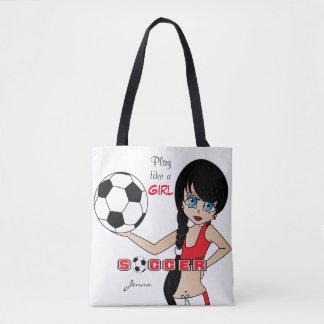 O jogo gosta de um futebol do vermelho da menina bolsa tote