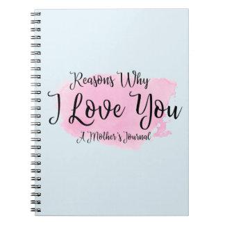 """O jornal """"razões de uma mãe pelas quais eu te amo caderno espiral"""