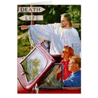 O kitsch retro Jesus do vintage aponta a maneira Cartão Comemorativo
