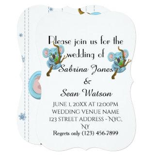 O Koala do convite de casamento personaliza