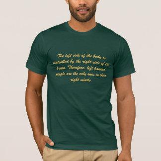 O lado esquerdo do corpo é controlado pelo… camiseta