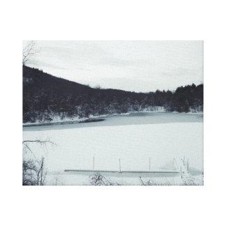 O lago impressão em tela