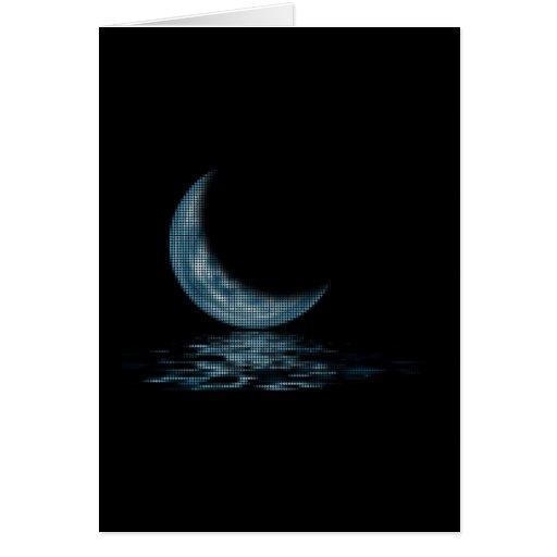 O lago moon de Cresent pontilha o azul Cartoes
