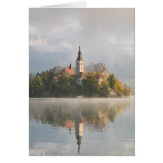 O lago nevoento do nascer do sol sangrou o cartão