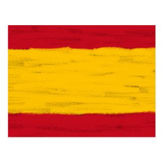 O lápis da cera da espanha esboçou a bandeira cartão postal