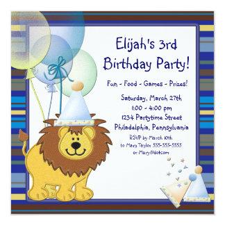 O leão Balloons o convite de festas do aniversário