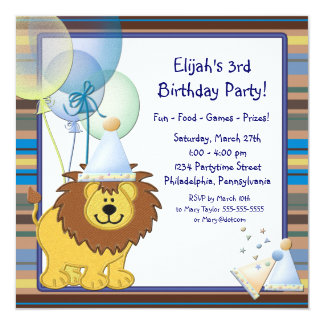 O leão Balloons o partido de aniversário de 3 anos Convite Quadrado 13.35 X 13.35cm