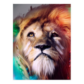 O leão colorido que olha acima empluma-se o cartão postal