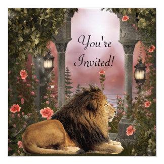 O leão no evento floral Enchanted do jardim Convite Quadrado 13.35 X 13.35cm
