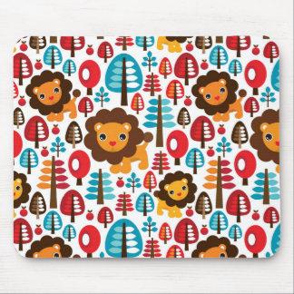 o leão retro bonito caçoa a ilustração mouse pad