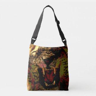 O leão rujir de Rasta cruza sobre o saco do Bolsas Carteiro