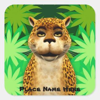 O leopardo caçoa a etiqueta dos desenhos animados adesivo em forma quadrada