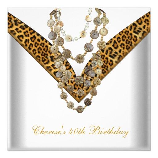 O leopardo do ouro do partido de aniversário de 40 convites personalizados