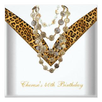 O leopardo do ouro do partido de aniversário de 40 convite quadrado 13.35 x 13.35cm