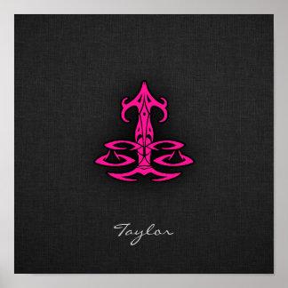O Libra do rosa quente escala o sinal do zodíaco Posteres