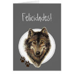 O lobo da aguarela segue Felicidades! Aniversário Cartão Comemorativo