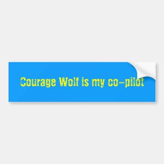 O lobo da coragem é meu copiloto adesivo para carro
