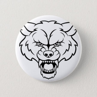 O lobo ostenta a cara irritada da mascote bóton redondo 5.08cm