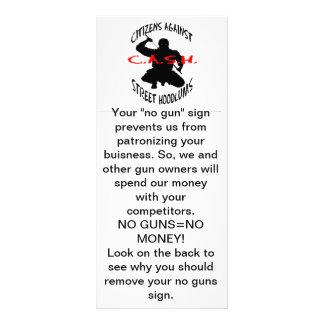 """o logotipo do dinheiro, seu de """"sinal nenhuma arma 10.16 x 22.86cm panfleto"""