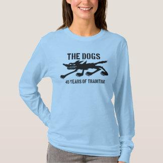 O logotipo dos cães 40th no preto camiseta