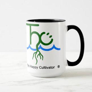 O logotipo feliz da caneca 2x do cultivador