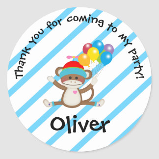 O macaco da peúga Balloons a etiqueta da listra do