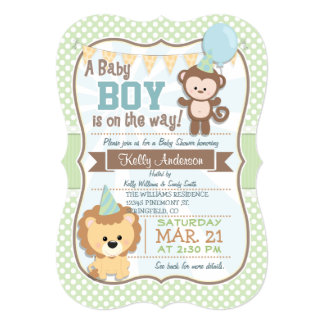 O macaco & o leão do bebé, chá de fraldas Pastel Convite 12.7 X 17.78cm