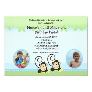 O macaco parvo junta o aniversário da foto convida convite 12.7 x 17.78cm