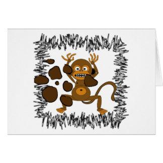 O macaco vê o doo do macaco - cartão do feliz