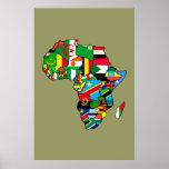 O mapa africano de bandeiras de África dentro do p Poster