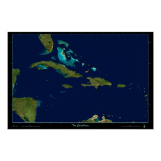 O mapa de foto satélite das caraíbas do poster